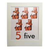 """Image of Vintage Mid Century Teaching Poster, Numbers - """"5"""" For Sale"""