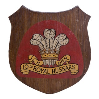 Mid 20th Century 10th Royal Hussars Insignia Wall Plaque For Sale