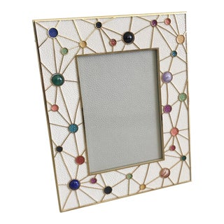 Shagreen With Multi-Color Stones Photo Frame by Fabio Ltd For Sale