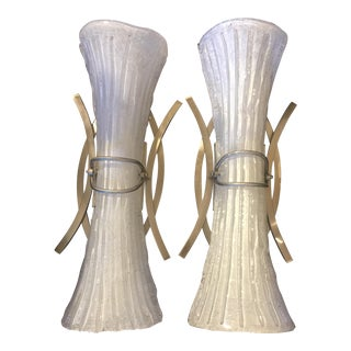 Large Murano Hand Blown Glass Deco Sconces - a Pair