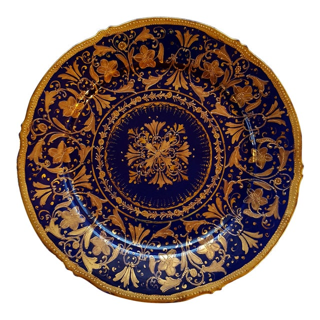 Antique Nippon Signed Colbalt Blue & Gold Gilted Porcelain Collector Plate For Sale