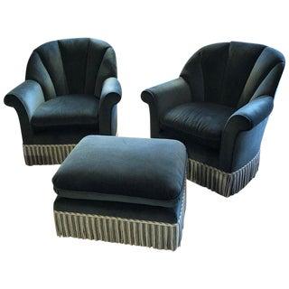 Blue Velvet Barrel Club Chairs & Ottoman - 3 Pieces For Sale