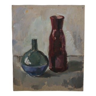 Mid-Century Two Vases Still Life Painting For Sale