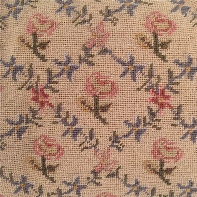 Needlepoint Pillow, Blue, Pink, Creme - Image 5 of 5