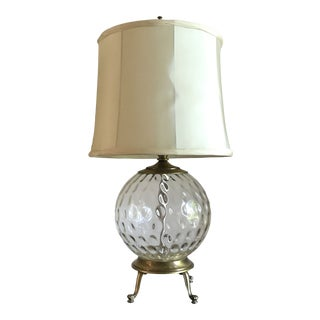 Early 20th Century Transitional Globe Glass Table Lamp For Sale