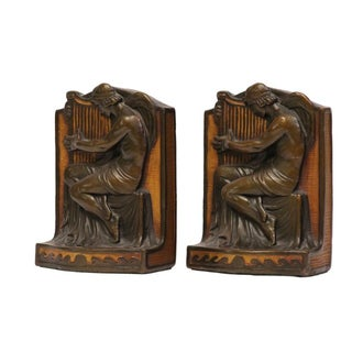 1920s Roman Harpist Bookends- A Pair