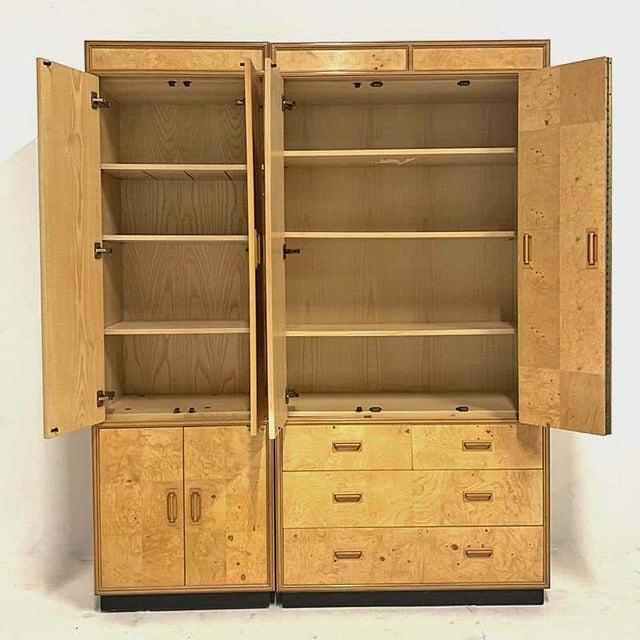 Biedermeier Henredon Olive Burl Burled Wood and Macassar Dresser Cabinet Shelving Wardrobe For Sale - Image 3 of 9