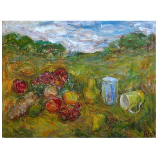 """Alexander Rapoport """"Fruits With Cups In the Grass"""" Oil Painting For Sale"""