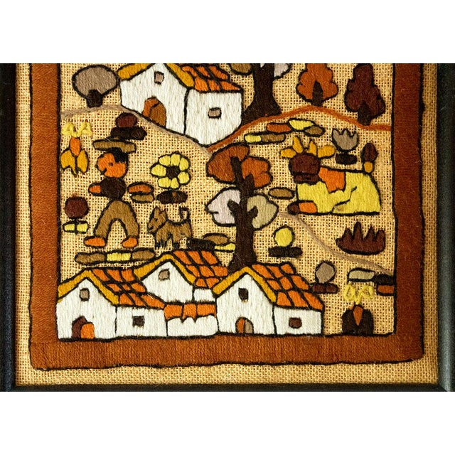 1980s Folk Art Hand Embroidery Textile Art For Sale - Image 5 of 7