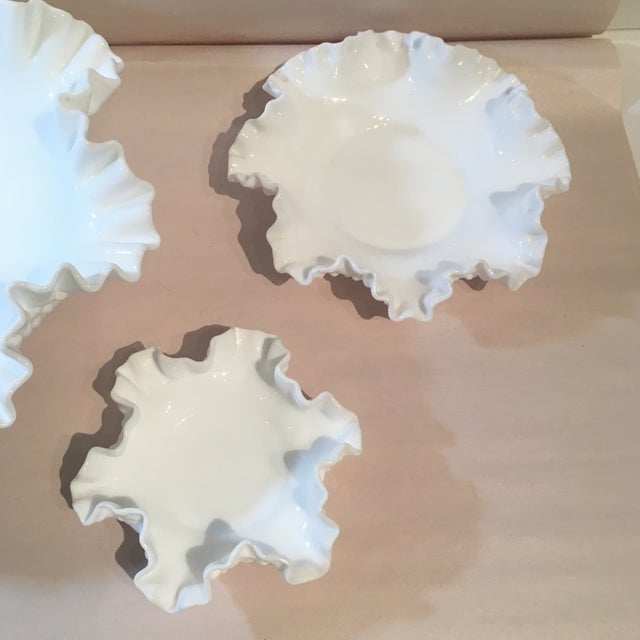 Fenton Hobnail Milk Glass Crimped Bowls - Set of 3 For Sale - Image 5 of 9