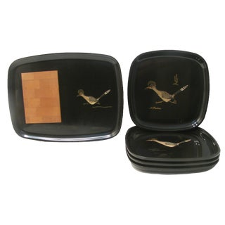 Mid-Century Couroc Roadrunner Tray & Plates C. 1960, Set of 5 For Sale