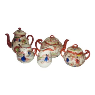 Vintage 1960s Japanese Imari Porcelain Tea Set - 5 Pieces For Sale