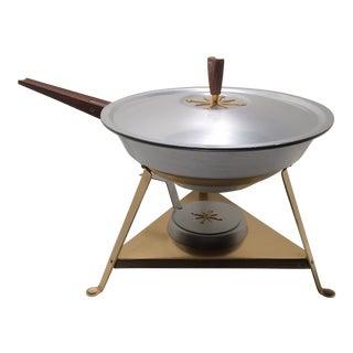 Mid Century Atomic Starburst Anodized Gold Aluminum Chaffing/Fondue Dish For Sale