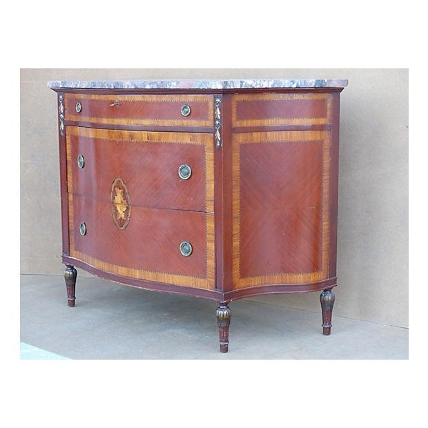 Traditional Marquetry & Inlay Marble Top Chest For Sale - Image 3 of 11