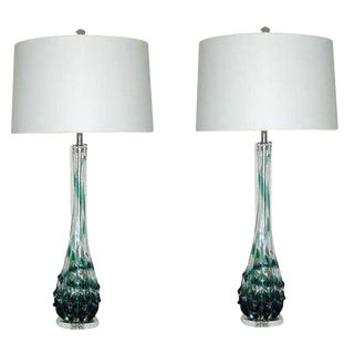 Vintage Murano Glass Table Lamps Blue Green For Sale