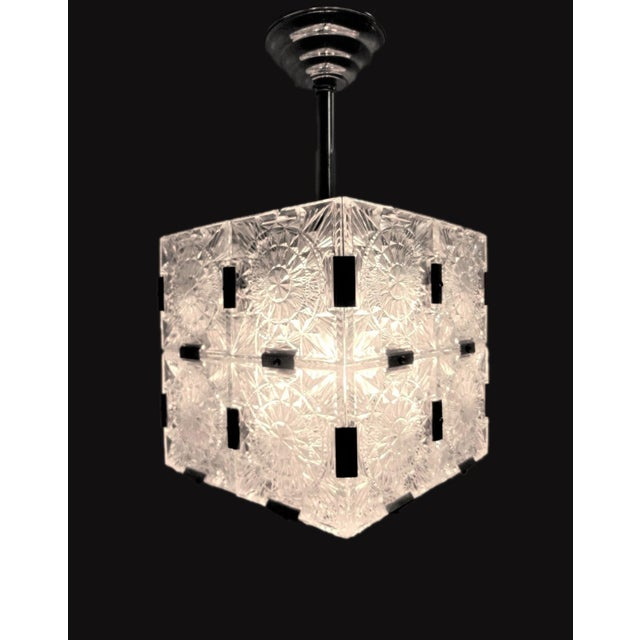 Original Cut Glass With Nickeled Clips Box Cube Pendant Lights - Set of 3 For Sale In New York - Image 6 of 12