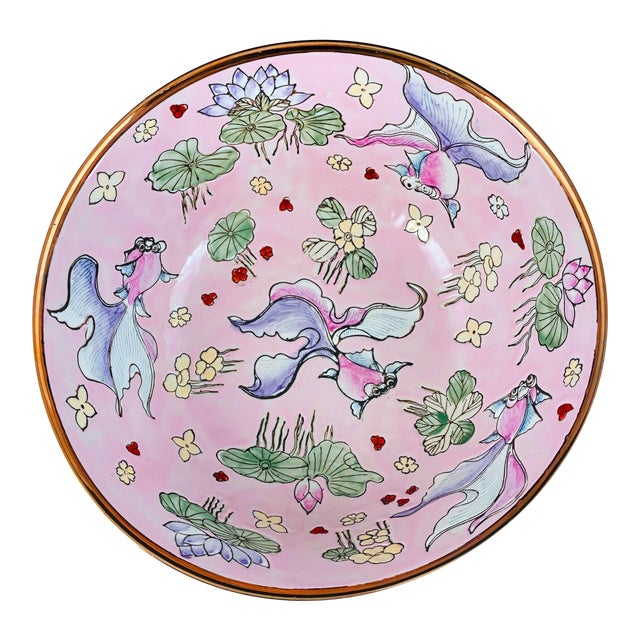 Vintage Chinese Fancy Goldfish Bowl Pink With Gold For Sale