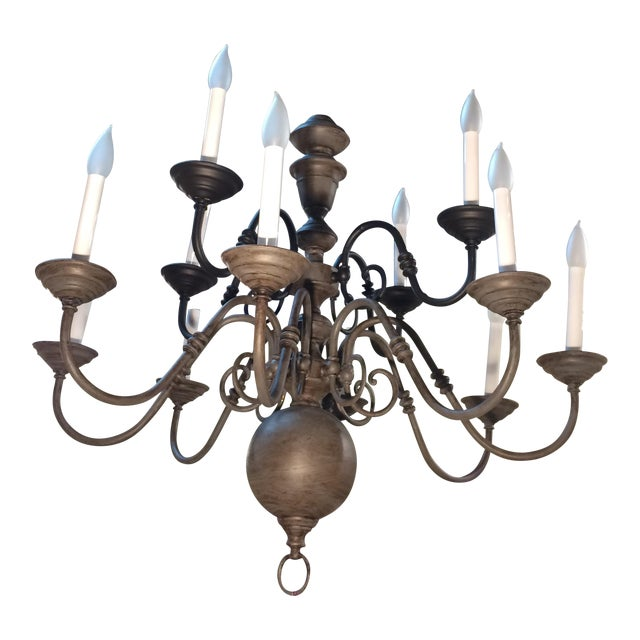 Traditional Eleven Light Brass Chandelier For Sale
