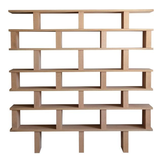 Contemporary Design Frères Verticale Polished Oak Shelving Unit For Sale