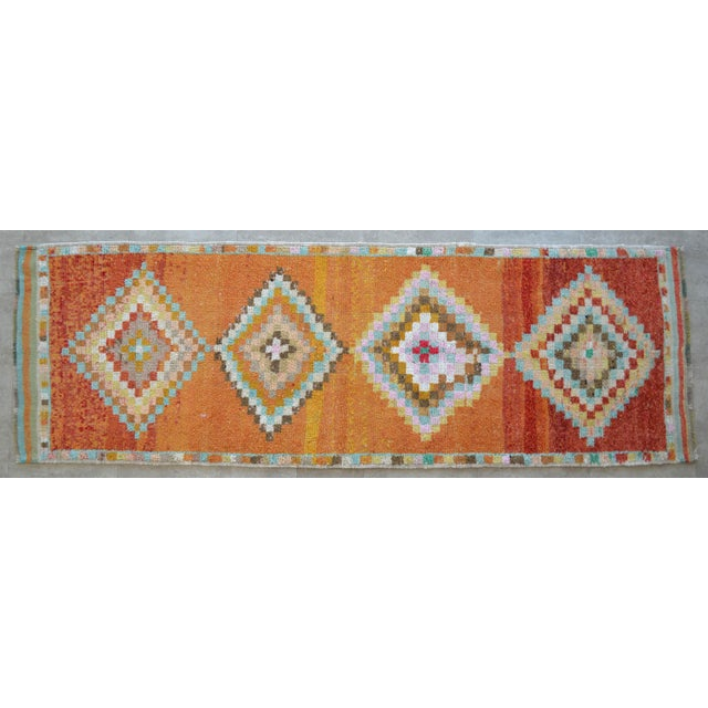 Hand-Knotted Turkish Runner Rug. Low Pile Herki Short Runner 3′3″ × 10′ For Sale - Image 11 of 11