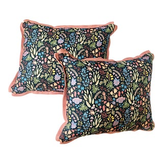 Custom House of Harris and Dogwood Throw Pillows - a Pair For Sale