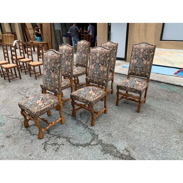 1900s Century French Country Louis XIII Style Os De Mouton Dining Chairs - Set of 6 For Sale In Miami - Image 6 of 13
