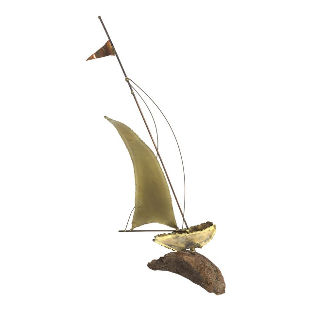 Curtis Jere Style Brass Boat Sculpture For Sale