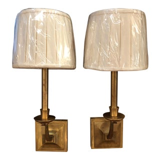 Jacques Garcia Contemporary Brass Wall Sconces - a Pair For Sale