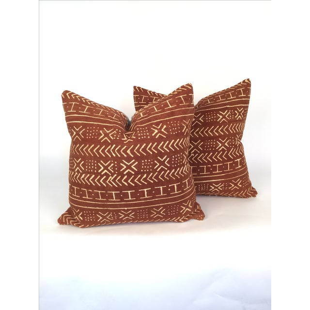 Vintage African Mudcloth Pillows - a Pair - Image 2 of 4