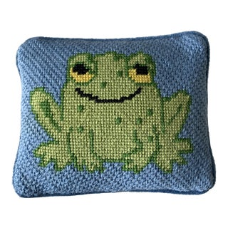 Small Blue Green Frog Needlepoint Pillow For Sale