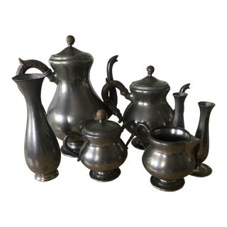 Royal Holland Daalderop Pewter Coffee Set - Set of 7 For Sale