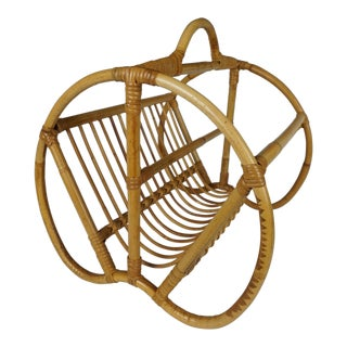 Curved Boho Chic Bamboo Magazine Stand For Sale