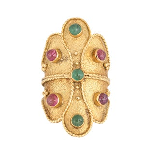 Mid 20th Century Vintage Etruscan Style Ruby and Emerald Wide Band Ring For Sale