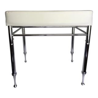 Chrome & Faux White Leather Ottoman/Stool