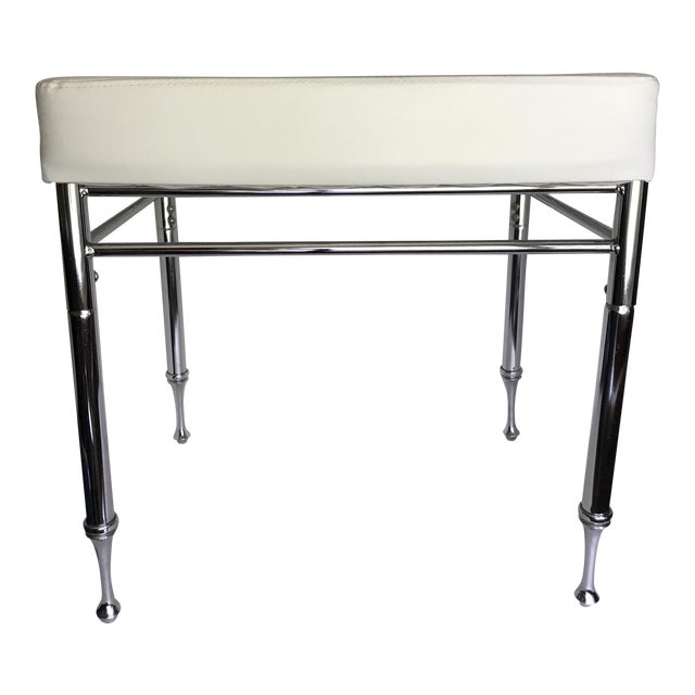 Chrome & Faux White Leather Ottoman/Stool - Image 1 of 4