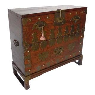 19th Century Korean Bandaji Storage Chest with Original Brass Hardware