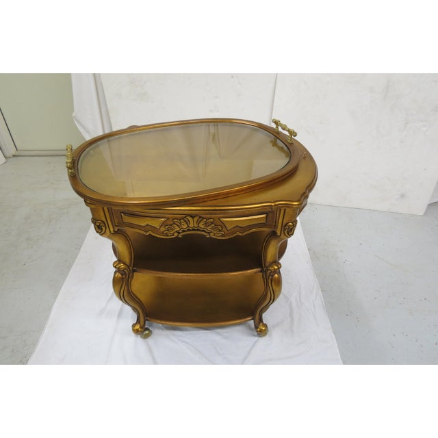 French Style Giltwood Serving Cart For Sale In Orlando - Image 6 of 6
