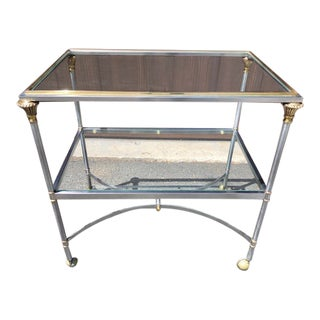French Jansen Style Neoclassical Steel and Brass Table on Casters