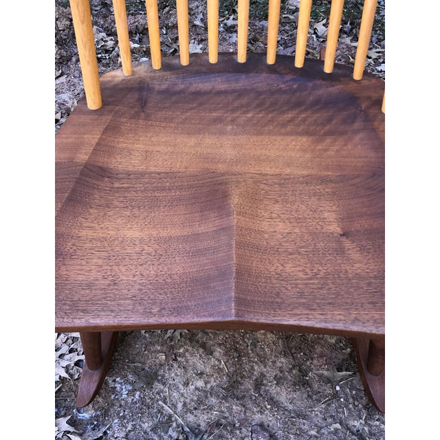 Contemporary Modern Nakashima Studio Mixed Wood Lounge Rocking Chair For Sale - Image 3 of 13