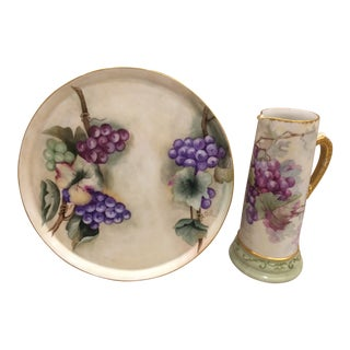 Limoges Platter & Matching Pitcher/Tankard With a Grape Motif (Antique, From the 1800's) For Sale