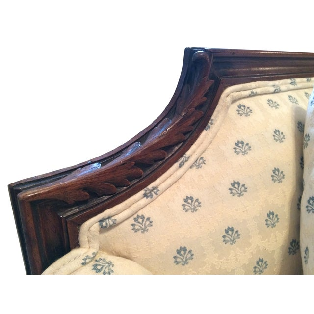 Vintage Carved Cream & Blue Satin Settee - Image 6 of 7