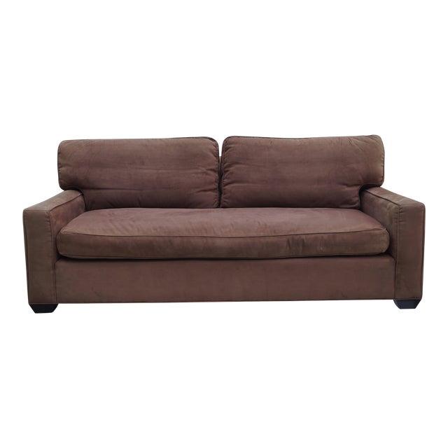 Barclay Butera Brown Microsuede Sofa   Chairish