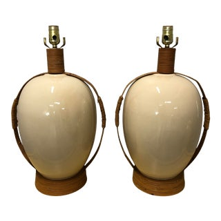 1980s Ceramic and Rattan Lamps - a Pair For Sale
