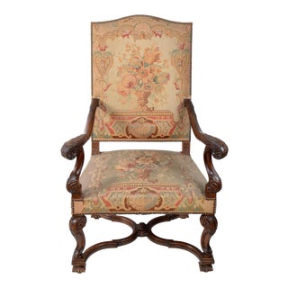 17th Century Hand-Carved Walnut Wood Armchair Needlepoint Upholstery Cross Base For Sale