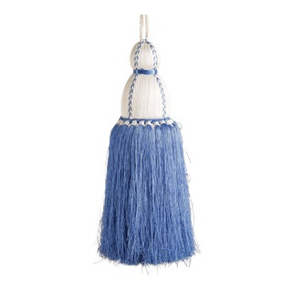 White & French Blue Tassel, Large For Sale
