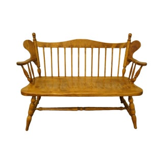 Late 20th Century Salem House Solid Maple Colonial Style Deacons Bench For Sale