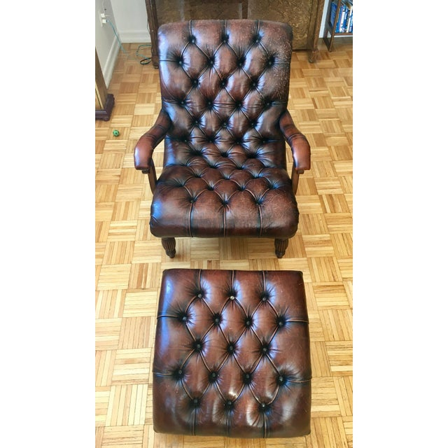 Leather Brown Chair & Foot Stool - Image 5 of 5