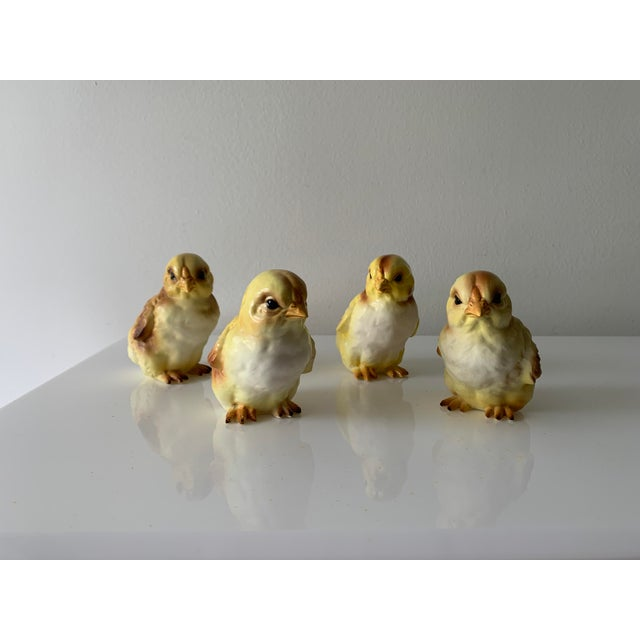 They look so real!!! Set of four, adorbs, porcelain baby chicks. Made in Japan.