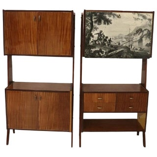 20th Century Italian Vintage Design Pair of Bookcase or Cabinet in Teak, 1960s For Sale