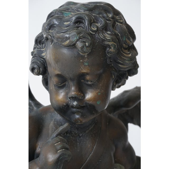 """1920s Vintage After Houdon """"Seated Cupid With Bow"""" Bronze Sculpture For Sale - Image 5 of 13"""